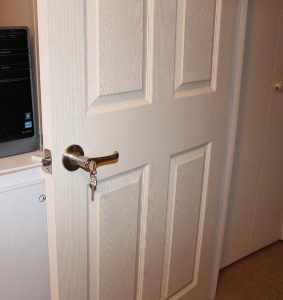 home office door with deadbolt